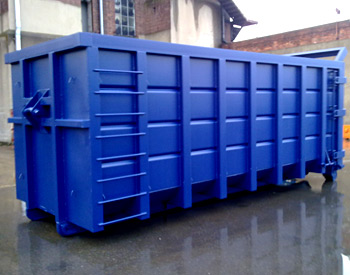 An order of skips await painting in the customers livery